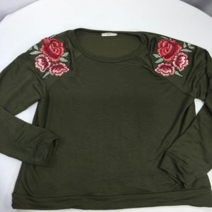 Atticute Knit Top Embroidered Roses Sage Green XS